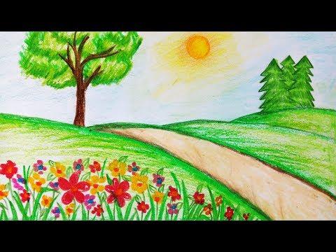 رسم منظر طبيعي للاطفال رسومات تعبيرية للاطفال هل تعلم