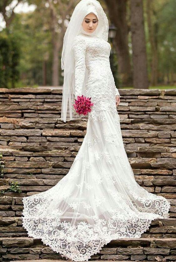 بالصور فساتين زفاف للمحجبات , احدث فساتين فرح للمحجبات 2655 3