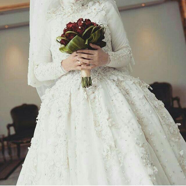 بالصور فساتين زفاف للمحجبات , احدث فساتين فرح للمحجبات 2655 4