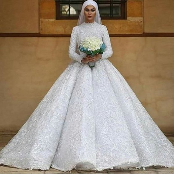 بالصور فساتين زفاف للمحجبات , احدث فساتين فرح للمحجبات 2655 6
