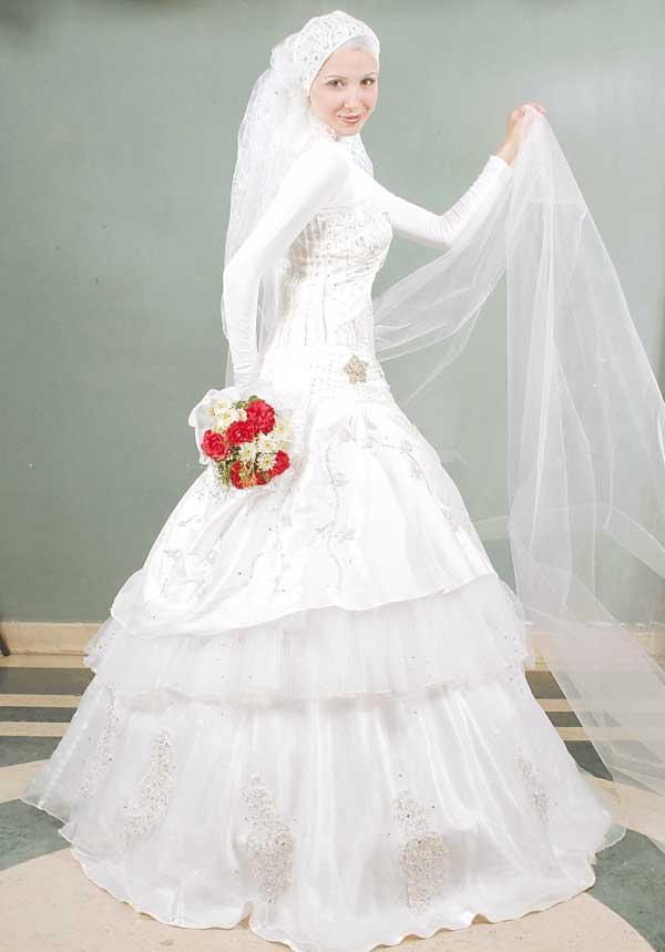 بالصور فساتين زفاف للمحجبات , احدث فساتين فرح للمحجبات 2655 9