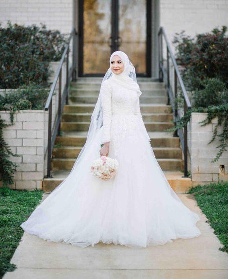 صوره فساتين زفاف للمحجبات , احدث فساتين فرح للمحجبات