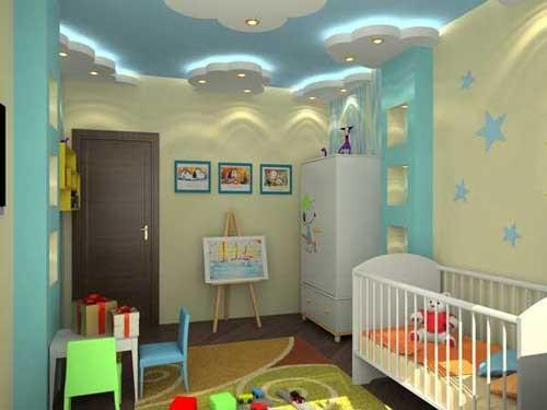 صوره ديكورات جبس غرف نوم اطفال , احدث تصميمات اسقف اوض الصغار