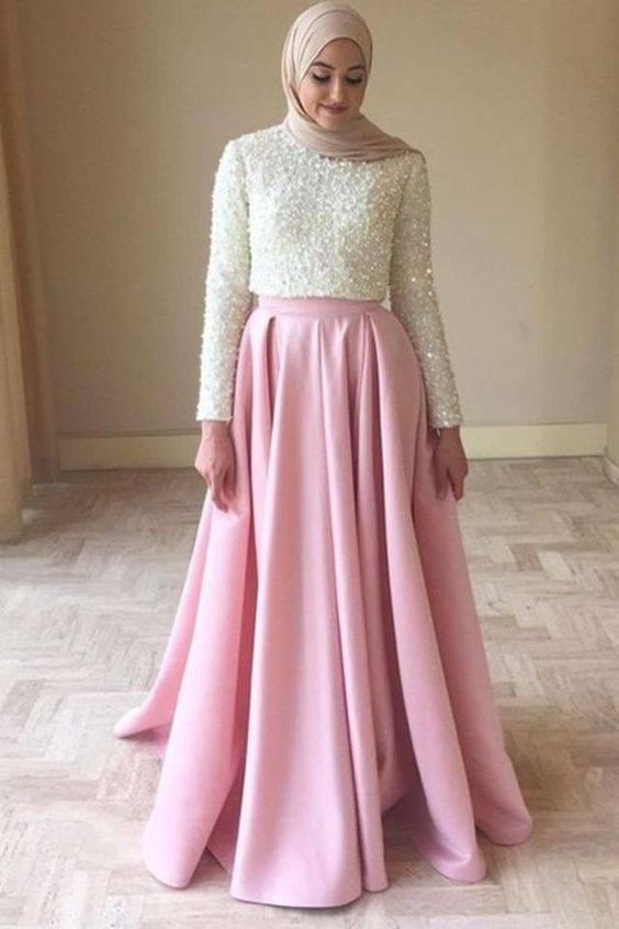 صورة فساتين محجبات سواريه , موديلات جميلة لفساتين المحجبات