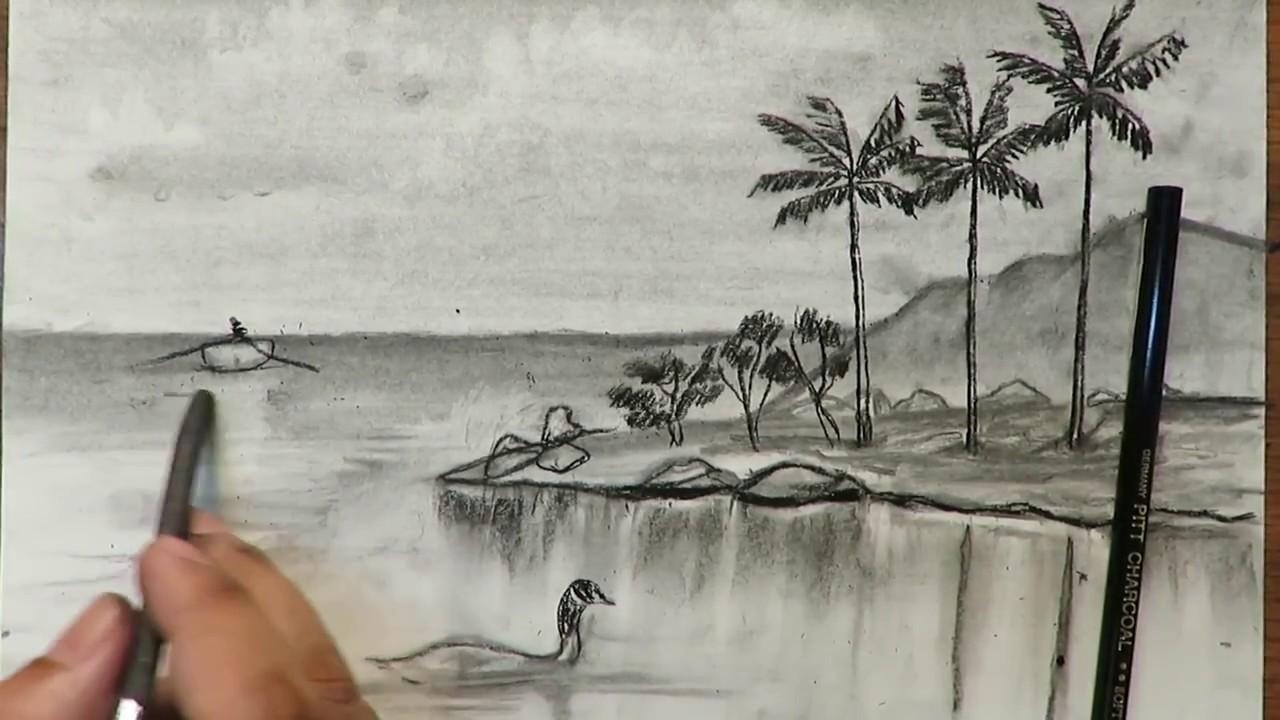 بالصور رسم طبيعة بالرصاص , اجمل الرسومات بالرصاص للمناظر الطبيعية 11011 9