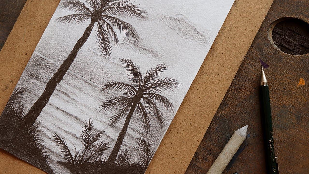 صور رسم طبيعة بالرصاص , اجمل الرسومات بالرصاص للمناظر الطبيعية