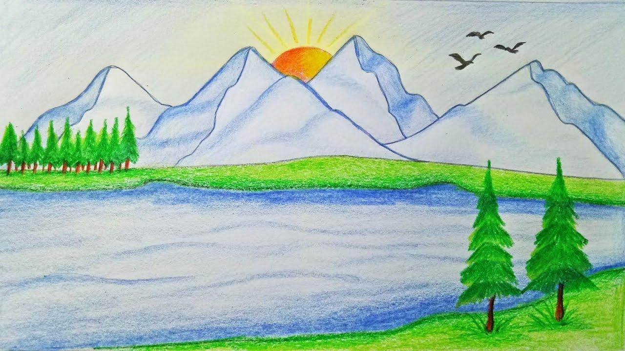 صورة رسم منظر طبيعي , رسم طبيعي سهل وبسيط
