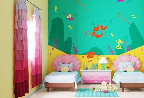 صورة الوان حوائط غرف نوم اطفال , ديكورات حوائط طفولية