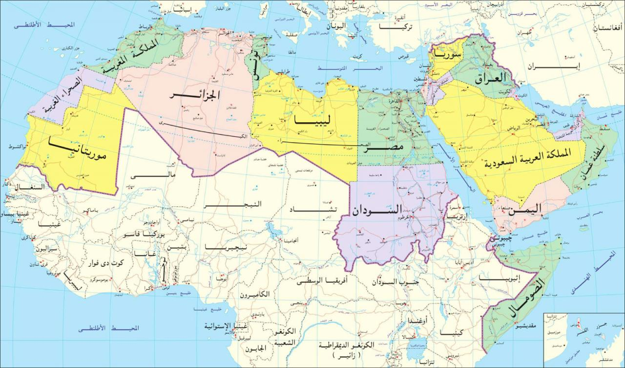 صور خارطه الوطن العربي , اعرف اماكن البلاد العربية بالخريطة