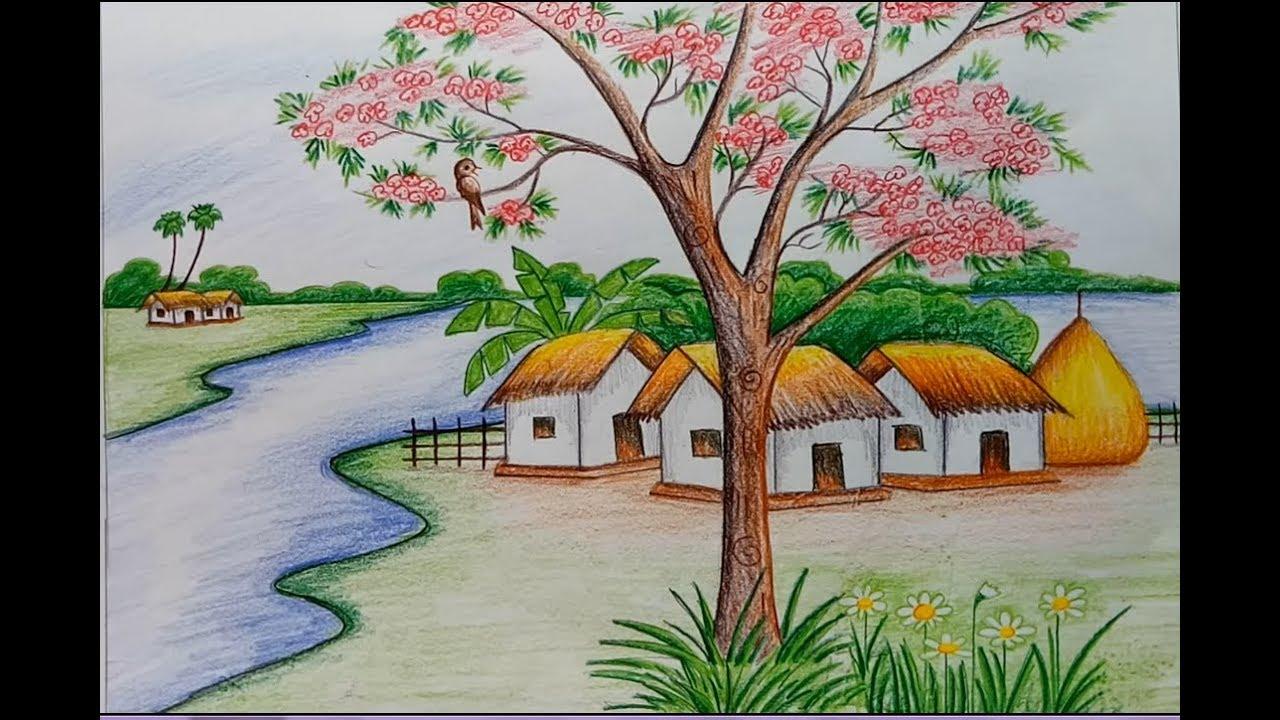 صورة رسم منظر طبيعي باليد , شاهد احلى واروع رسومات من جمال الطبيعة